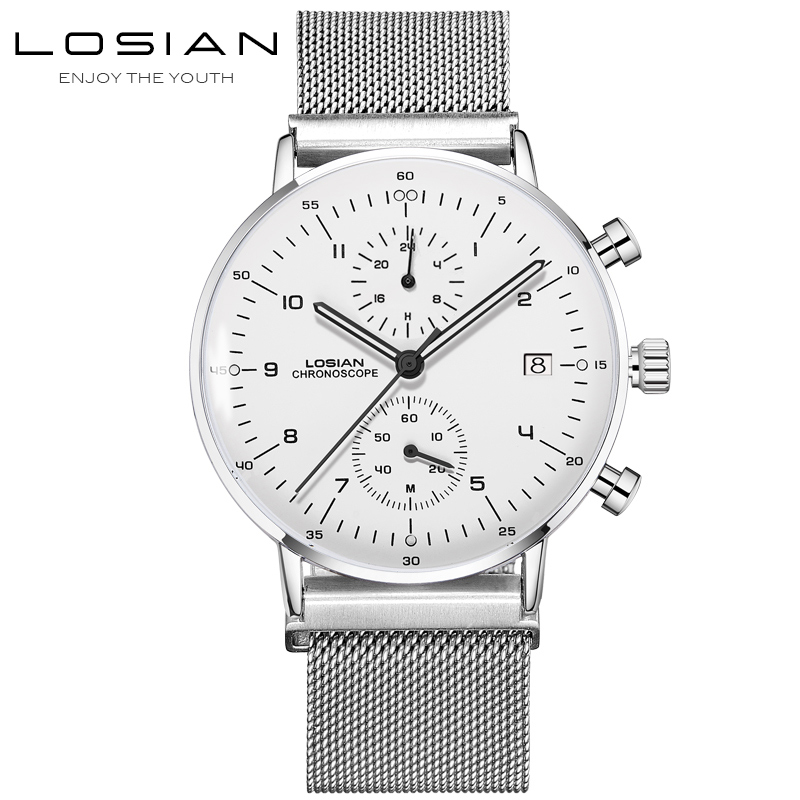 LOSIAN Men's Watches Fashion Slim Multi-function Luminous Waterproof Calendar 24 Hours Minutes Watch Mens Clearance Price No Box