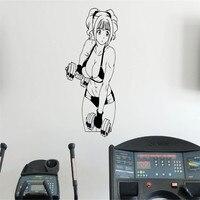 Fitness Anime Duvar Sticker Kadın Gym Spor Vinil Sticker Ev Duvar Sanatı Dekor Fikirleri Iç Çıkarılabilir Tasarım