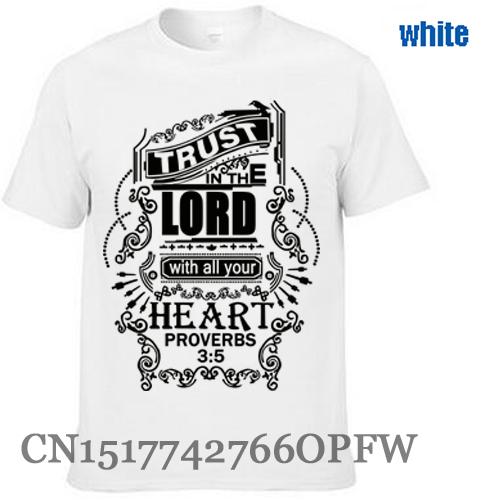 Trust in The Lord Christian T-shirt Men's brand tees Black Jesus 100% Cotton men T Shirt