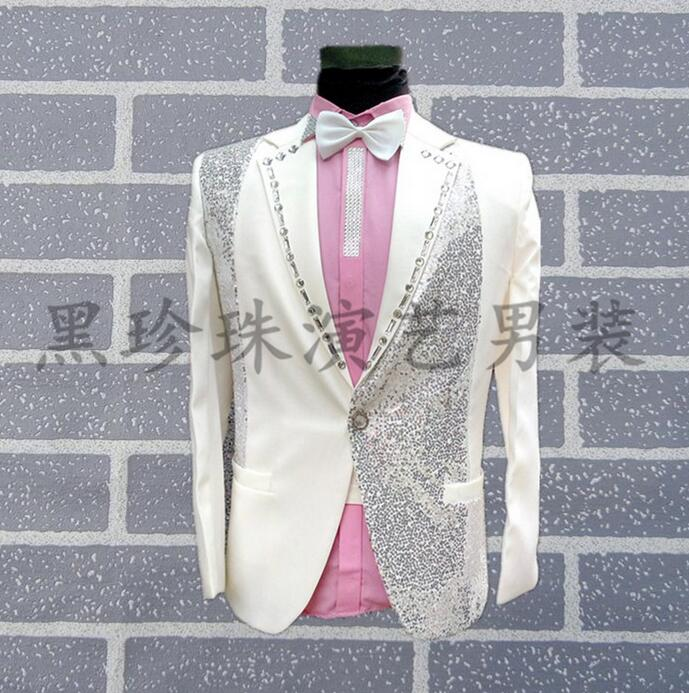 Men Suits White Masculino Homme Terno Stage Costumes For Singers Men Sequin Blazer Dance Clothes Star Style Formal Dress