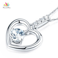 Peacock Star Fine 14K White Gold White Topaz Heart Pendant Necklace 0.04 Ct Diamond