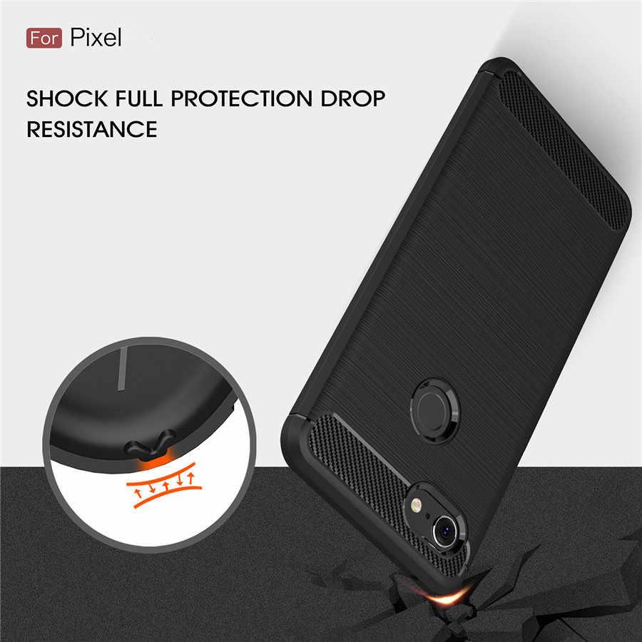 กันกระแทกสำหรับGoogle Pixel 3 XLกรณีPixel 3 2 1 XLคาร์บอนไฟเบอร์TPUซิลิโคนป้องกันโทรศัพท์กลับCapa