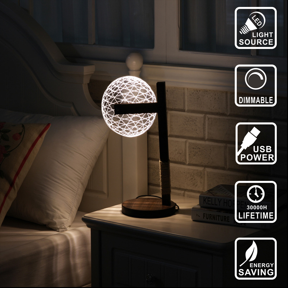цена Modern Living Table Lamp Decor lamp wood led bulb dog light Acrylic 3D lamp Illusion Light Led Micro USB Night Light IY804005
