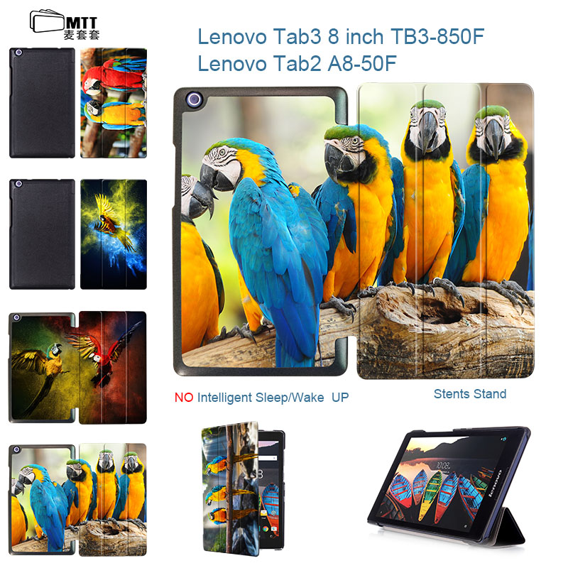 MTT Parrot Case for lenovo Tab 3 8 TB3-850M/850F leather protective cover funda For Lenovo Tab 2 A8-50 A8-50F A8 8 tablet CASE ultra slim flip with magnetic pu leather folding stand cover case for lenovo tab 2 a8 50 a8 50f a8 50lc 8 0 tablet case