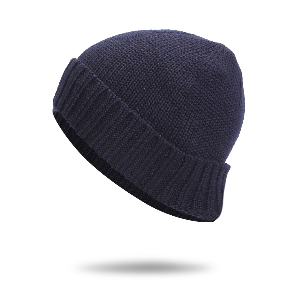 2017 new Men's fur lining Thicken Skullies Winter Wool Knitted Hat Male Wool Beanies Cap Casual Solid Color Simple Hats For Men knitted skullies cap the new winter all match thickened wool hat knitted cap children cap mz081