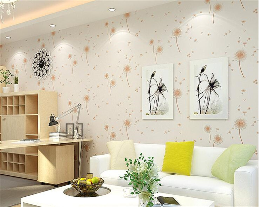 beibehang Dandelion bedroom children bedroom fresh pastoral style 3d wallpaper girl warm wedding room living room TV wall paper beibehang three dimensional pastoral floral nonwoven 3d wall paper warm pink children s bedroom girl bedroom european wallpaper
