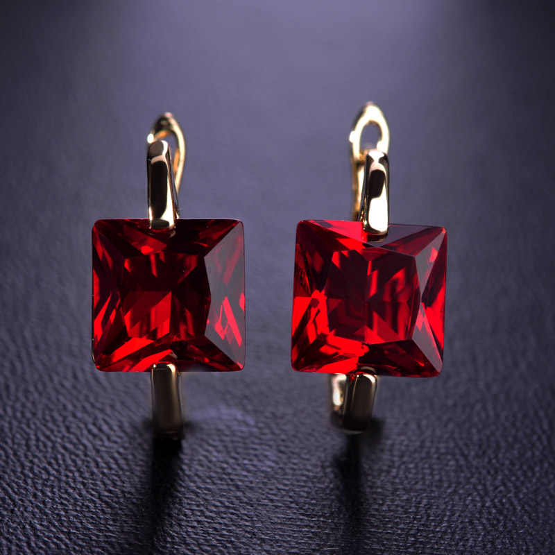 Dazz Simple Elegant Rhinestone Square Small Stud Earrings For Women Gold Silver Color Red Blue Green Fine Stones Earrings Bijoux