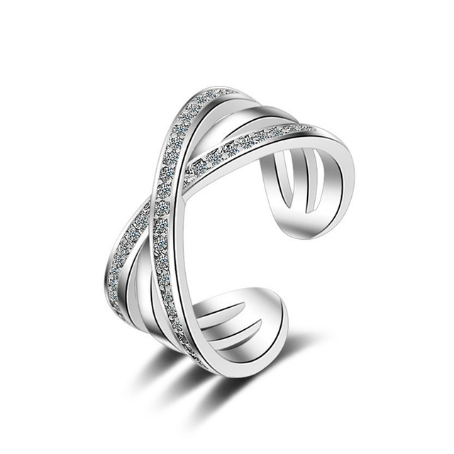 Ring Women Adornment Finger Accessories Open Adjule Setting Zircon Stones Clear Wedding Band Nickel Free Fashion