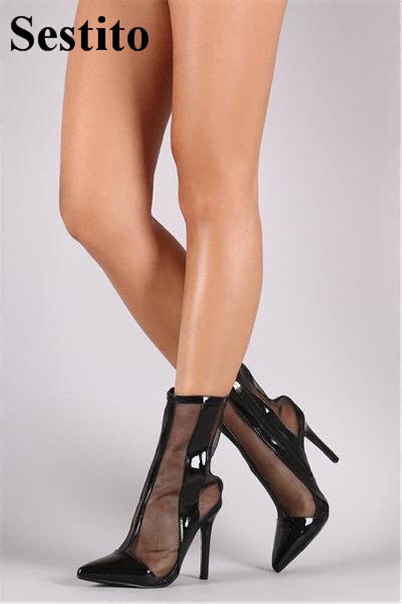 Super Mince Femme Haute Printemps Bottes Noir Bout Dames automne Picture Pointu Maille Pour Talons Chaussures Zip Européenne Femmes Patchwork As Cheville wq47nv