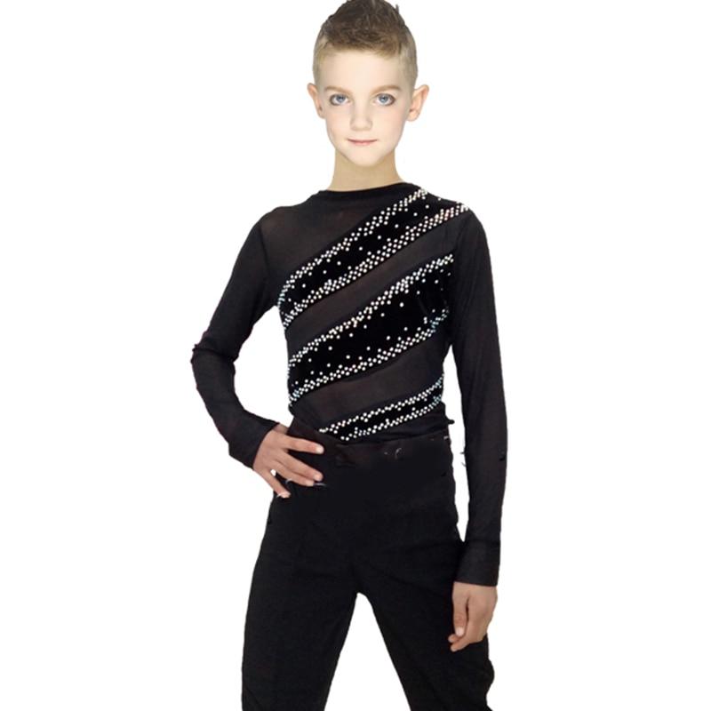 Latin Dance Shirts Boys Long Sleeve Black Gold Velvet Elastic Net Yarn Rhinestone Ballroom Shirt Men