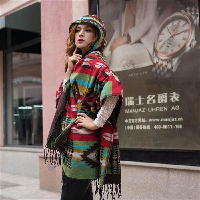 Новинка, модные зимние теплые клетчатые пончо и накидки для женщин, Большие шали и накидки, кашемировые пашмины женские накидки - Цвет: 24