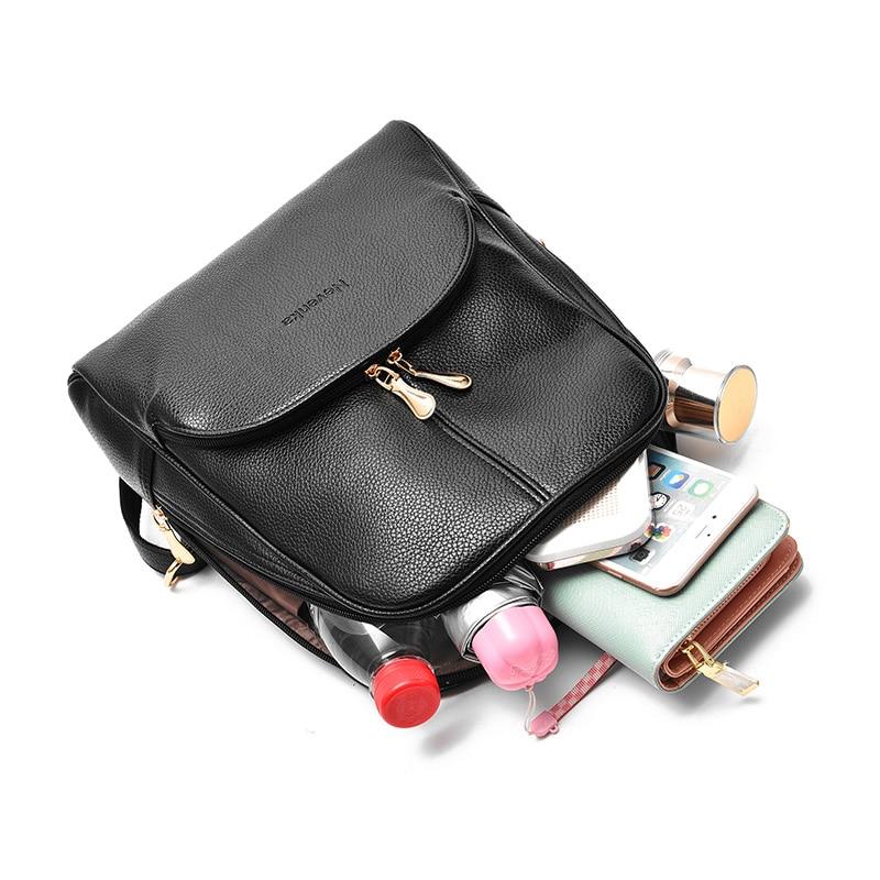 HTB1oHdMa.LrK1Rjy1zbq6AenFXaT Nevenka Mini Backpack Women Light Weight Daypacks Girls Fashion Backpacks Ladies Leather School Bag Female Gray Backpack Black