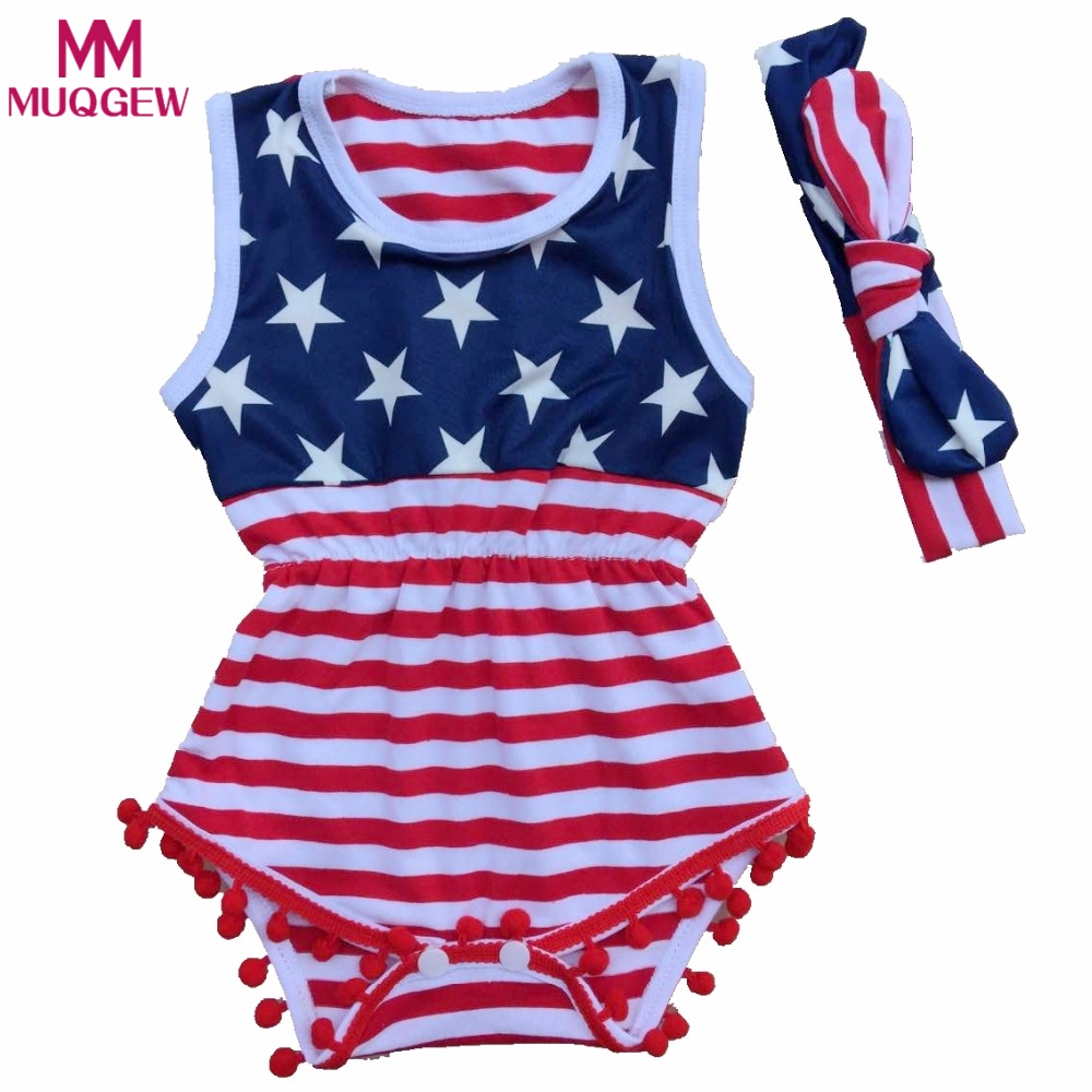 Newborn Baby Rompers American Flag Pattern Baby Clothing Set Rompers + Headbands 2pcs Summer Infant Jumpsuit Girl Boys Rompers mother nest 3sets lot wholesale autumn toddle girl long sleeve baby clothing one piece boys baby pajamas infant clothes rompers