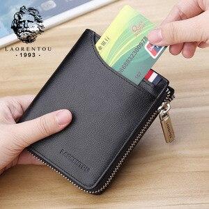 Image 2 - LAORENTOU Men Wallet Genuine Leather Card Holder Man Luxury Short Wallet Purse Zipper Wallets Casual Standard Wallets for Male