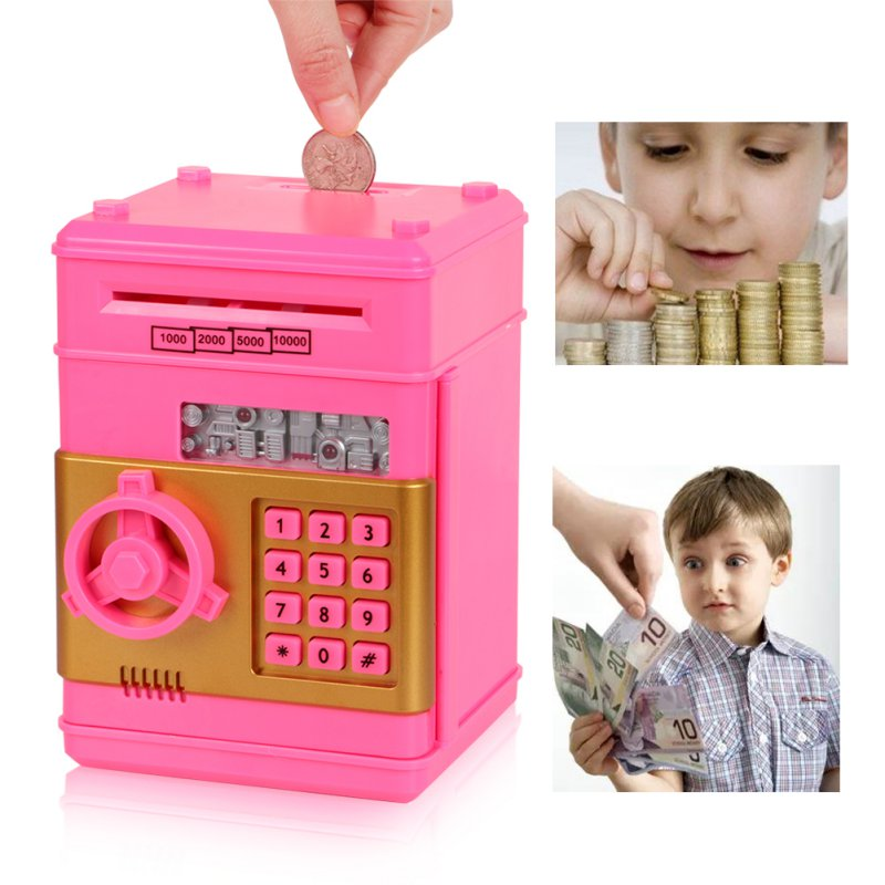 Design Creative Code Children Safety Electronic Piggy Bank Digital Coins Cash Deposit Money Box Secret Mini ATM Machine