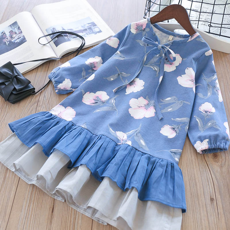 Hurave Summer 2018 New Print full Sleeve Girls Dress Girl drawstring Girls infant clothing boutique outfits flowers dress torneo блин torneo хромированный с резиновой вставкой 5 кг