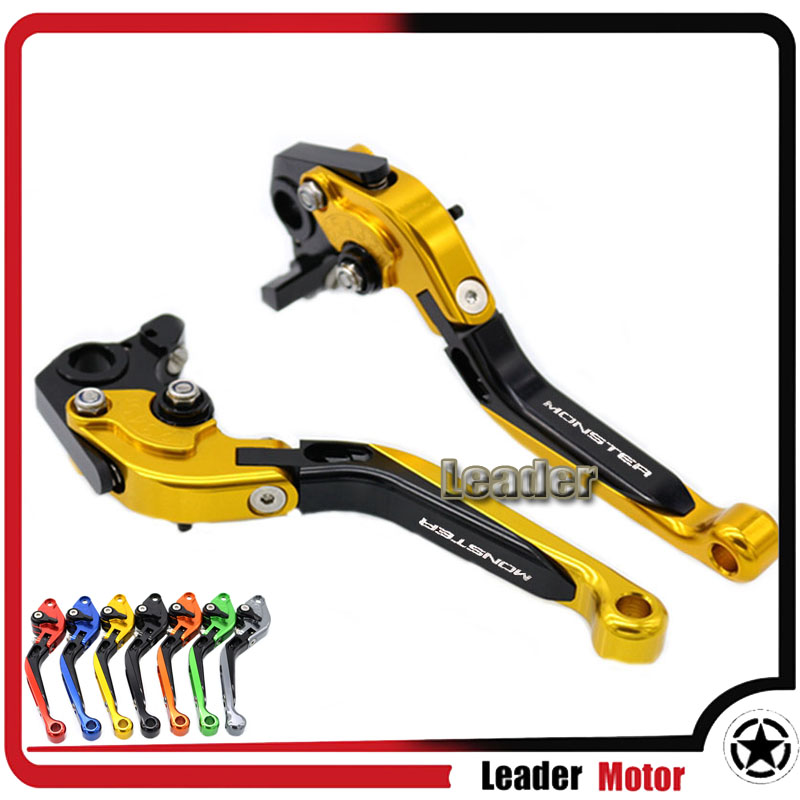 ФОТО For DUCATI 659 MONSTER 13-14 796 MONSTER 10-15 696 MONSTER 08-14 Motorcycle CNC Folding Extendable Brake Clutch Levers Gold