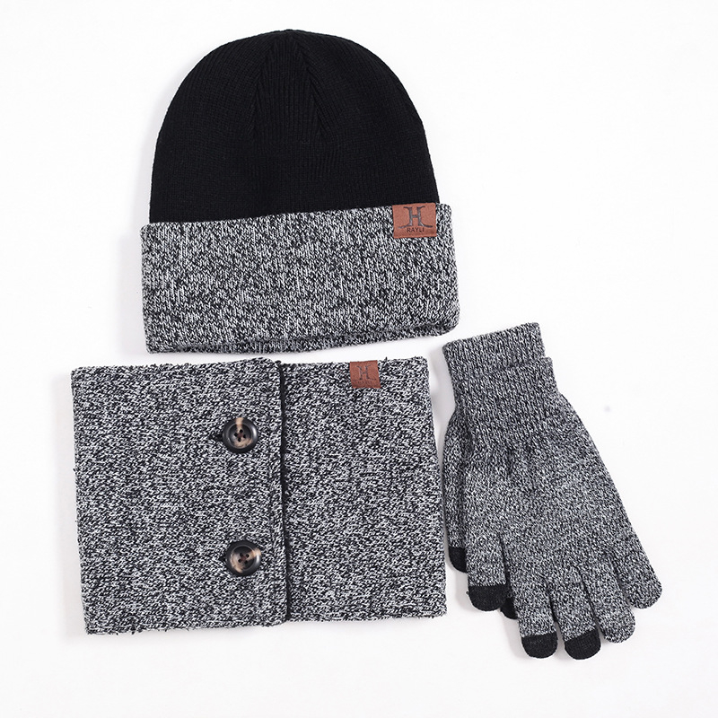 Hat Scarf Gloves Set For Women Men Warm Knitted Hat Scarf Set For Male Female Hats Touch Screen Gloves Neck Warmer Mujer Chapeu