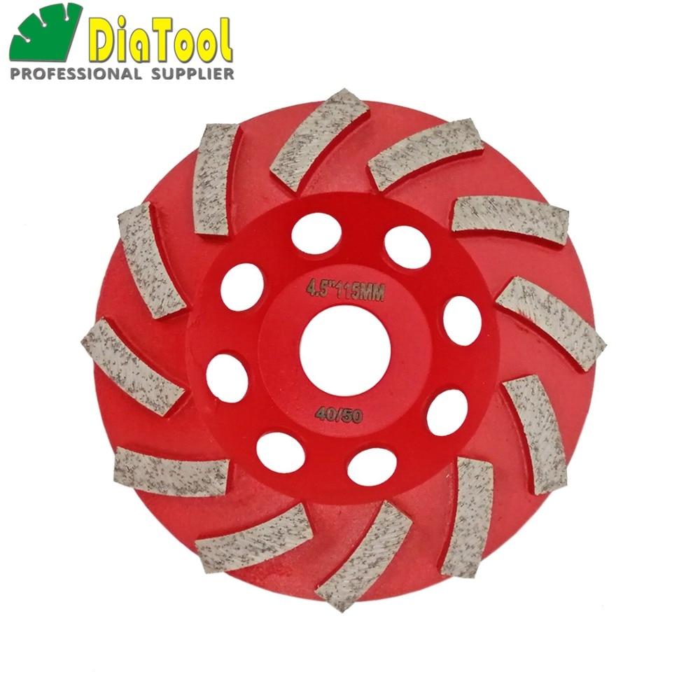 цена на DIATOOL 4.5/115MM Segmented Turbo Diamond Grinding Cup Wheel For Concrete And Masonry Material, Diamond Grinding Discs
