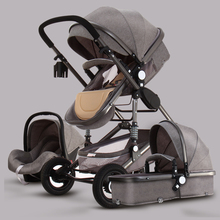 Baby Carriages Above Land-Landscape Golden 3 in 1 Portable Folding 2 Luxury Carriage