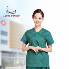 Wash clothes dark green cotton cloth men and women short sleeve suit brush hand clothing