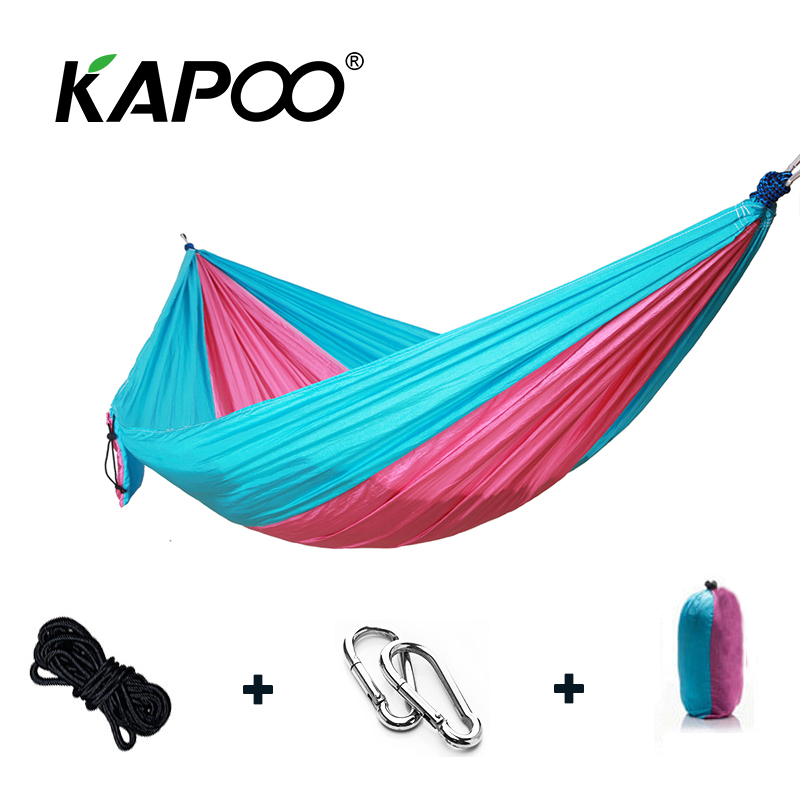 Pink and Blue Portable Single Double Hammock Double Swing Chair Outdoor Furniture Picnic Mat Camping Hammock Soft Leisure Bed цена 2017