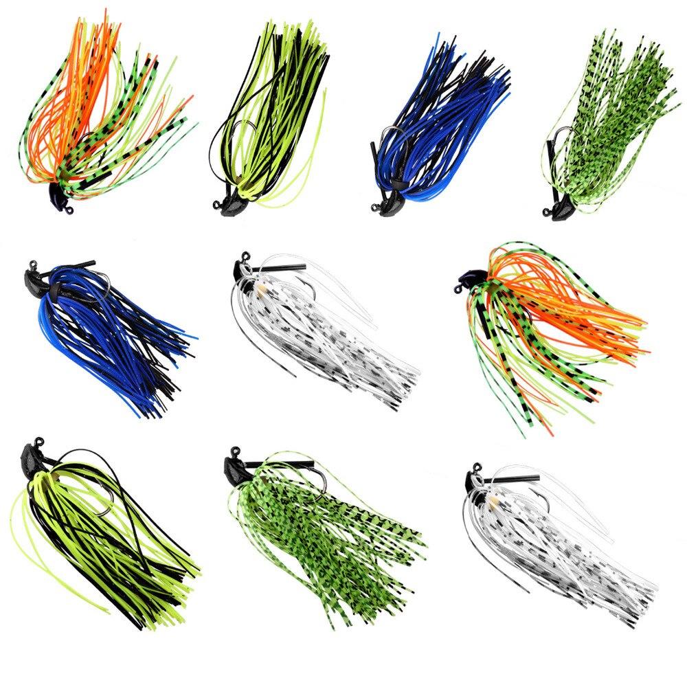 10Pcs/lot Bass Fishing Lures 7g 10g 14g Skirt Rubber Fishing Bait Jig Head Fishing Buzz Lure Pesca