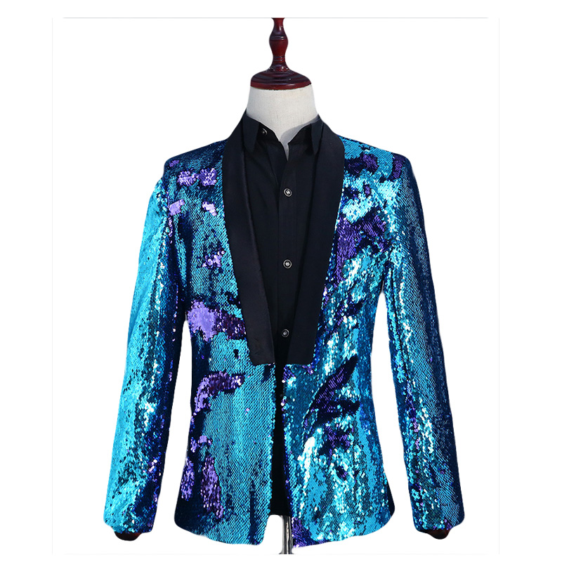 Mens Shiny Gold Flipping Sequin Dress Blazers DJ Nightclub Stage Host  Glittering Suit Jacket Men Prom Host Banquet Blazer Hombre-in Blazers from  Men s ... 04619da7eaf6