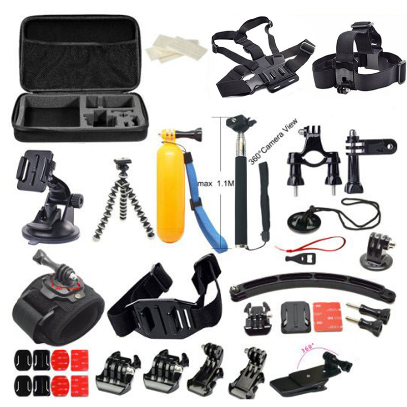 Free Shipping!!Accessories Set 38 in 1 Chest Strap / Tripod / Bag  for Gopro Hero 3 3+ 4/ SJ4000 SJ5000 / XiaoMi Yi Sport camera