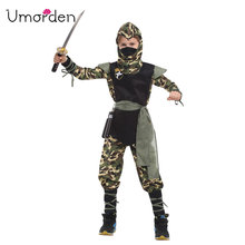 Umorden Purim Carnival Halloween Costumes Kids Boy Camouflage Ninja Costume Naruto Cosplay Warrior Martial Clothes