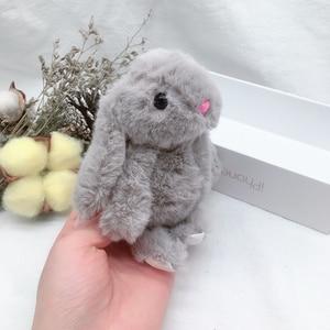 Image 3 - 새 도착 귀여운 부드러운 솜털 토끼 박제 동물 토끼 장난감 패션 인형 아기 소녀 키즈 선물 동물 인형 키 체인