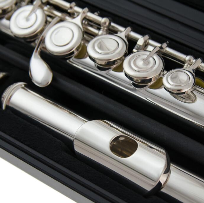 French Button Flute 222 Musical Instrument Silver Plated Flute 16 Closed Holes Tune and E Key Flute