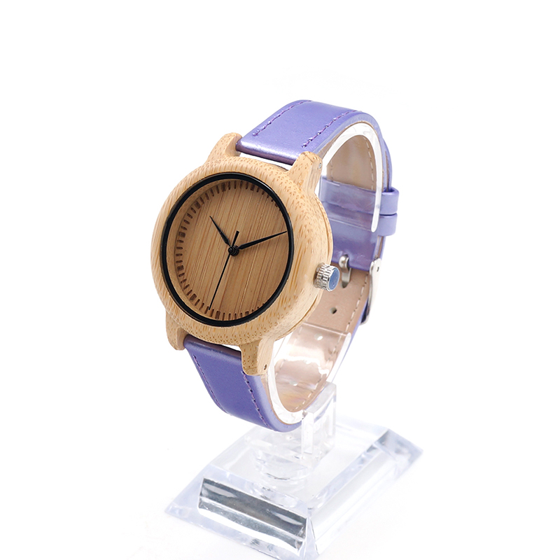 ФОТО BOBO BIRD J07 Bamboo Watch Simple  Bule PU Leather Band Quartz Watches Gril Women's Relojes mujer Accept OEM Relogio