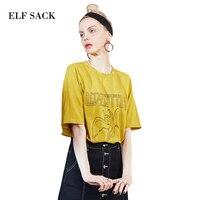 ELF SACK Summer Loose Women T Shirts Greek Mythology Prints Tee Shirts Women Hole O Neck