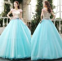 Gothic Quinceanera Dresses Ball Gowns Short Sleeves Cascading Sexy Blue With Lace Pageant Dress