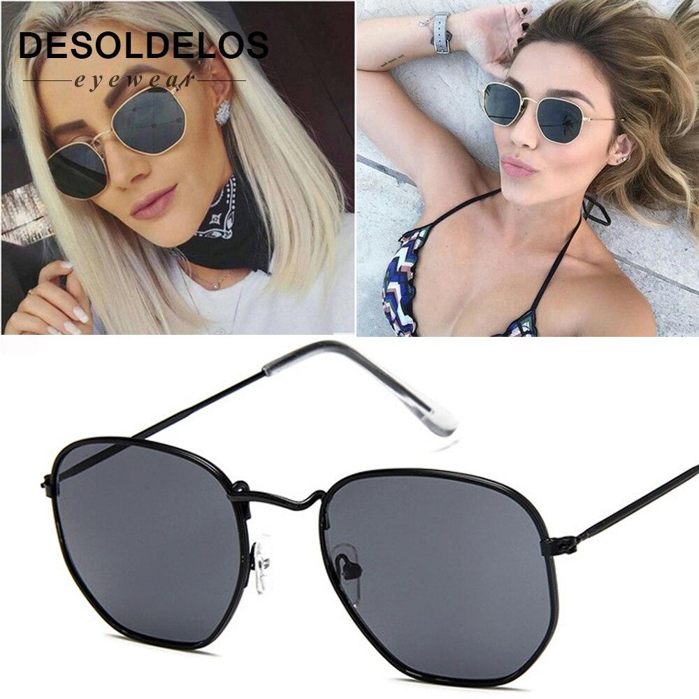 Square Sunglasses Small-Frame Polygon Vintage Design Women New-Arrival Fashion-Brand