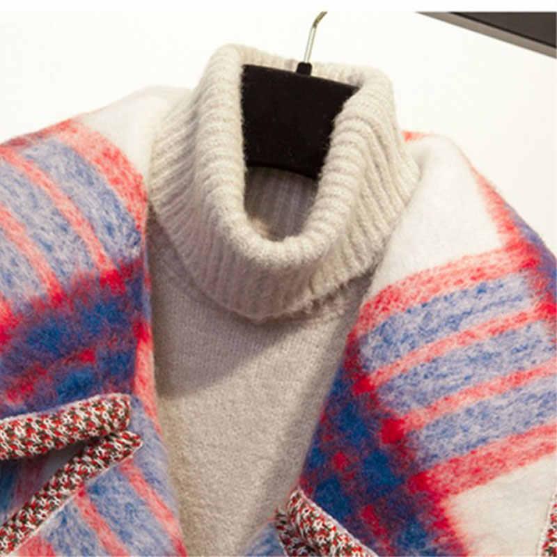 Winter Mantel Frauen 2018 Warme Baumwolle-gepolsterte Wolle Mantel Lange frauen Kaschmir Mantel Europäischen Mode Großen Jacke Outwear plaid Mäntel