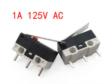 200Pcs Limit Switch Push Button Switch 1A 125V AC Mouse Switch 3Pins Micro Switch Good quality цена