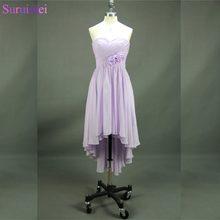 506a8a66d7 Flor hecha a mano barato Vestidos de dama de honor corto gasa vestidos de  Niñas lavanda