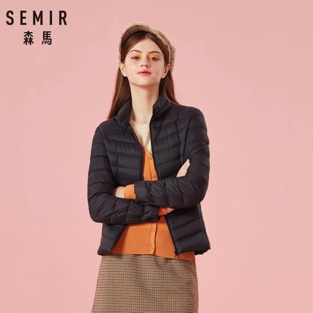 SEMIR 2019 Down Winter Jacket Women Cotton Short Jackets New Down Padded Hooded Warm Autumn Slim Coat Female Casual Tops 2