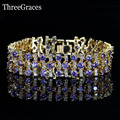 Women Charm Bracelet Clear Cubic Zircon Synthetic Diamond Elegant Purple Crystal Big Wide Gold Plated Bracelets Jewelry BR104