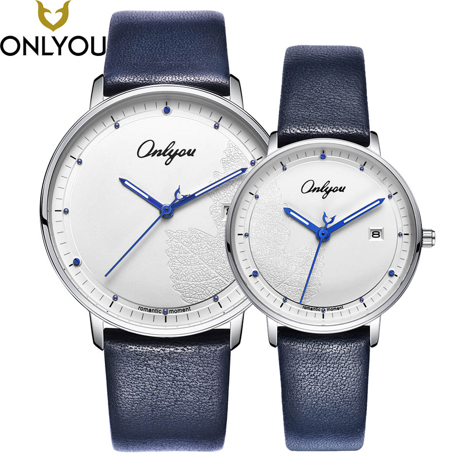 ONLYOU Lover Watches Women Fashion Watch 2017 Best Express Love Gift Men Maple Leaves Casual Quartz Clock Ladies Wristwatch Pair