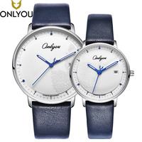 ONLYOU Lover Watches Women Fashion Watch 2017 Best Express Love Gift Men Maple Leaves Casual Quartz
