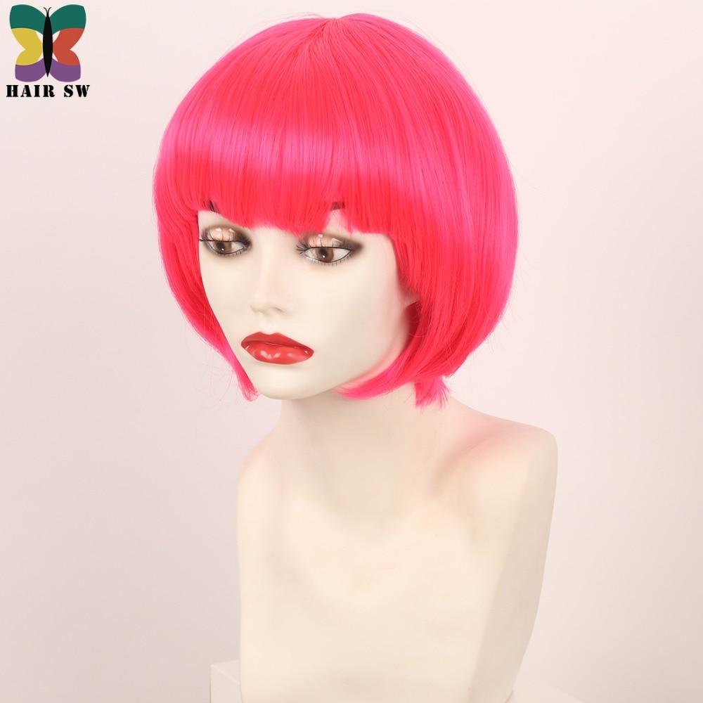 Σύντομη ρόδινη ζεστή ροζ περούκα - Συνθετικά μαλλιά - Φωτογραφία 2
