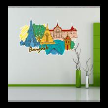 Bangkok Map Globe Earth City Wall Vinyl Sticker Custom Made Home Decoration Fashion Design Pvc Removable