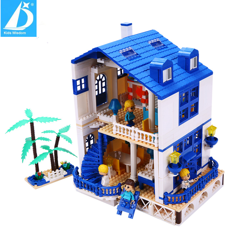 ФОТО Kids Wisdom Famous Blue Glow House Educational Children Assemblage Blocks Home Series Best Brinquedos Toy For Kids