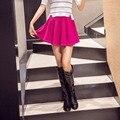 De las mujeres Falda Sexy Mini Faldas de Cintura Alta Elástica Candy Color Sólido Falda Plisada Falda Corta Mujer BSA2-2