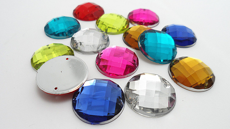 1000pcs/bag 16colors 12mm Round DIY Acrylic sew on rhinestones flat back,Handmade garment Jewelry accessories