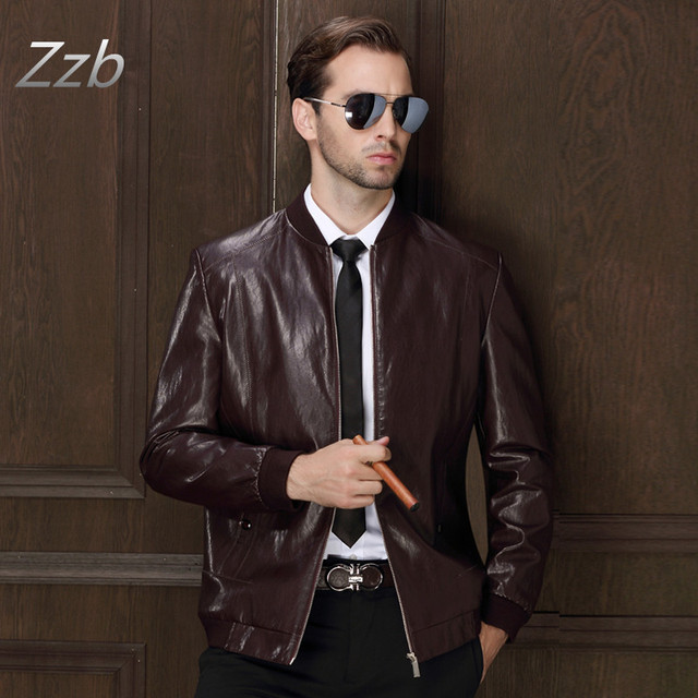 Men's Popular Handsome motorcycle  Leather Jacket Punk New Black Red Leather Jackets Zipper Men Chupas De Cuero Hombre