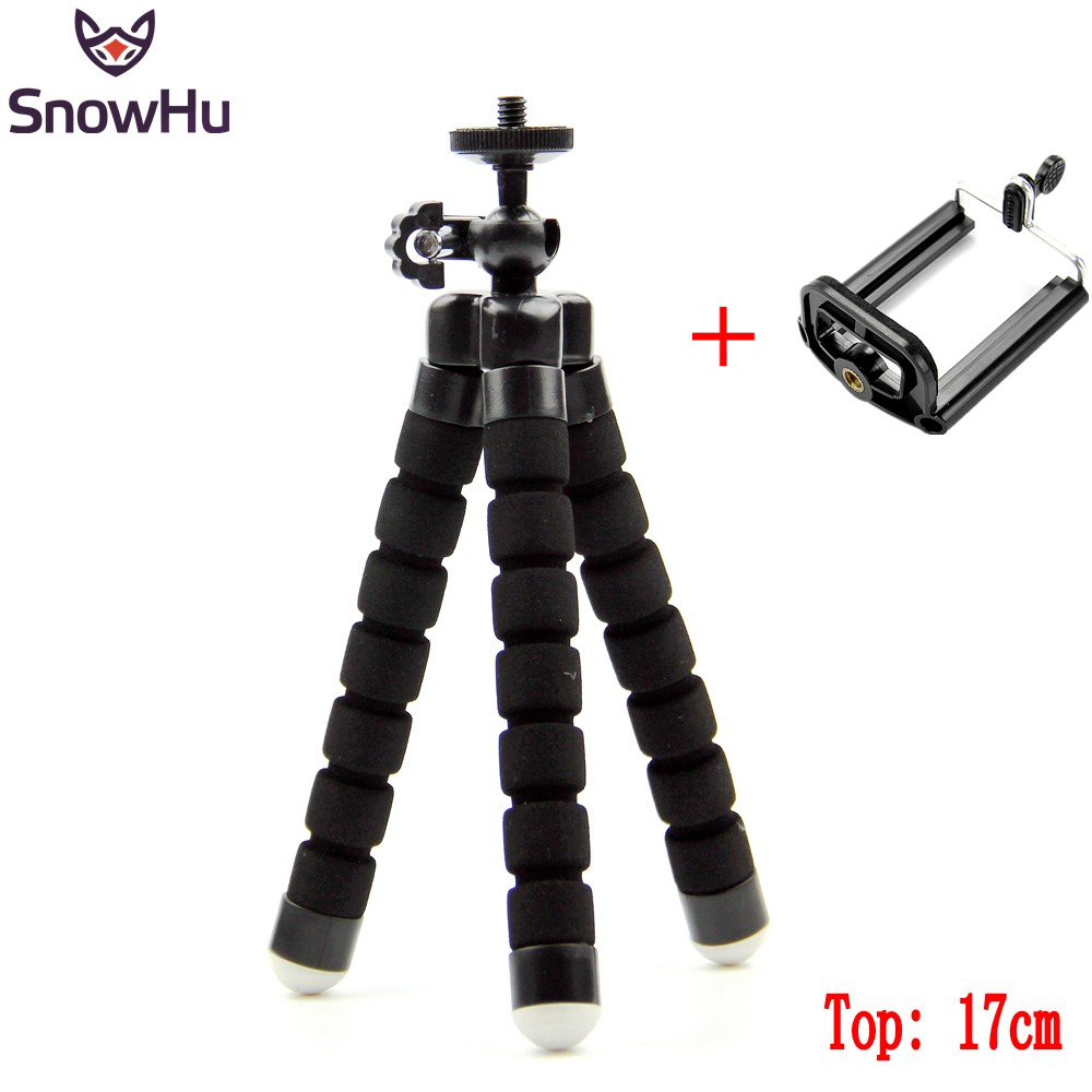 SnowHu for GoPro Accessories Mini Tripod Flexible Leg With Screw Mount Adapter For Go Pro Hero 6 5 4 3+ for Xiaomi for yi